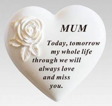 Large 13cm MUM ROSE HEART Grave Stone DF18113E